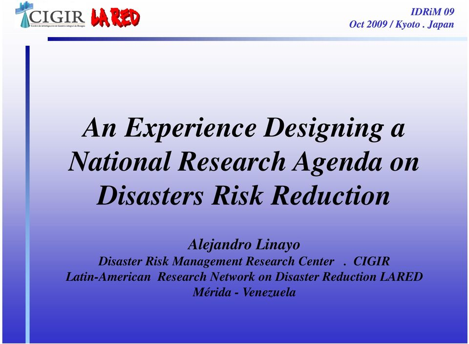 Disaster Risk Management Research Center.