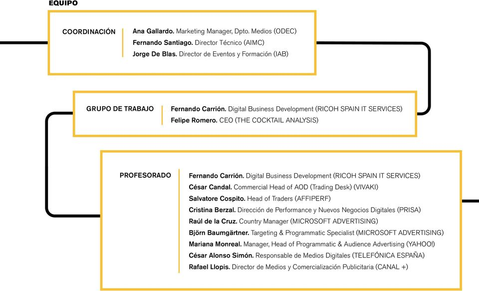 Digital Business Development (RICOH SPAIN IT SERVICES) César Candal. Commercial Head of AOD (Trading Desk) (VIVAKI) Salvatore Cospito. Head of Traders (AFFIPERF) Cristina Berzal.