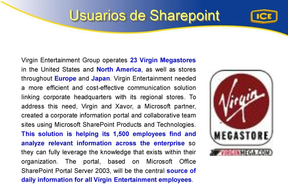 To address this need, Virgin and Xavor, a Microsoft partner, created a corporate information portal and collaborative team sites using Microsoft SharePoint Products and Technologies.
