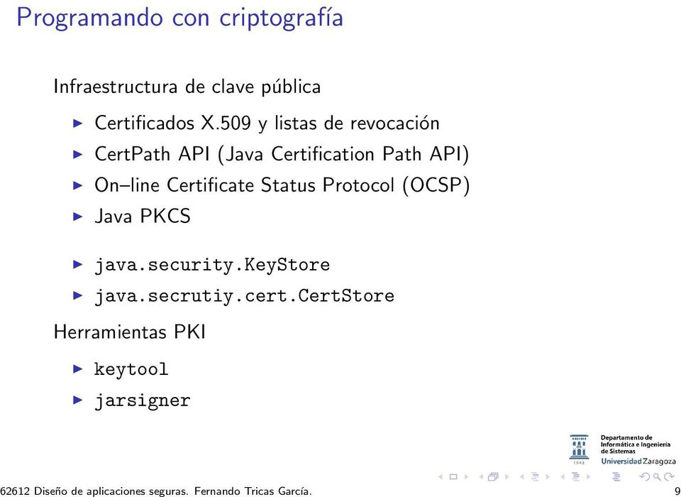 509 y listas de revocación CertPath API (Java Certification Path API) On line