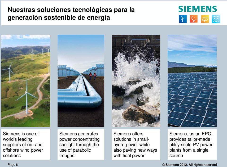 the use of parabolic troughs Siemens offers solutions in smallhydro power while also paving new ways with