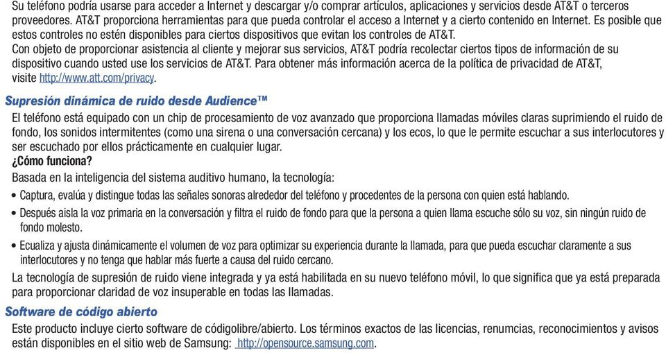Es posible que estos controles no estén disponibles para ciertos dispositivos que evitan los controles de AT&T.