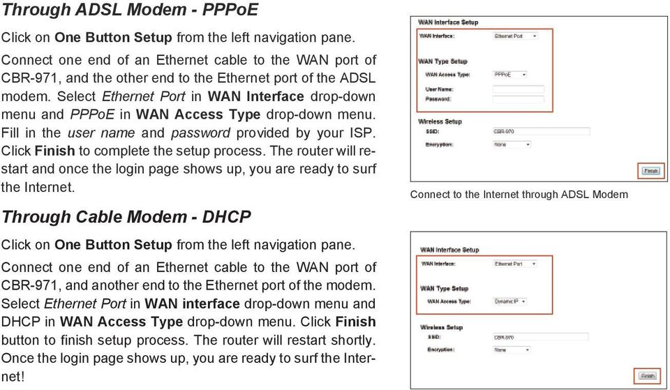 Select Ethernet Port in WAN Interface drop-down menu and PPPoE in WAN Access Type drop-down menu. Fill in the user name and password provided by your ISP. Click Finish to complete the setup process.