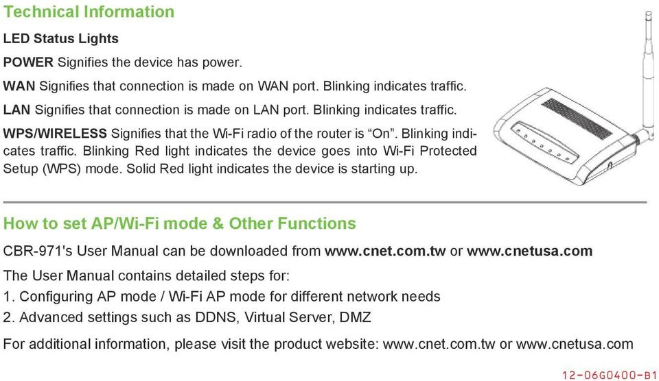Solid Red light indicates the device is starting up. How to set AP/Wi-Fi mode & Other Functions CBR-971's User Manual can be downloaded from www.cnet.com.tw or www.cnetusa.