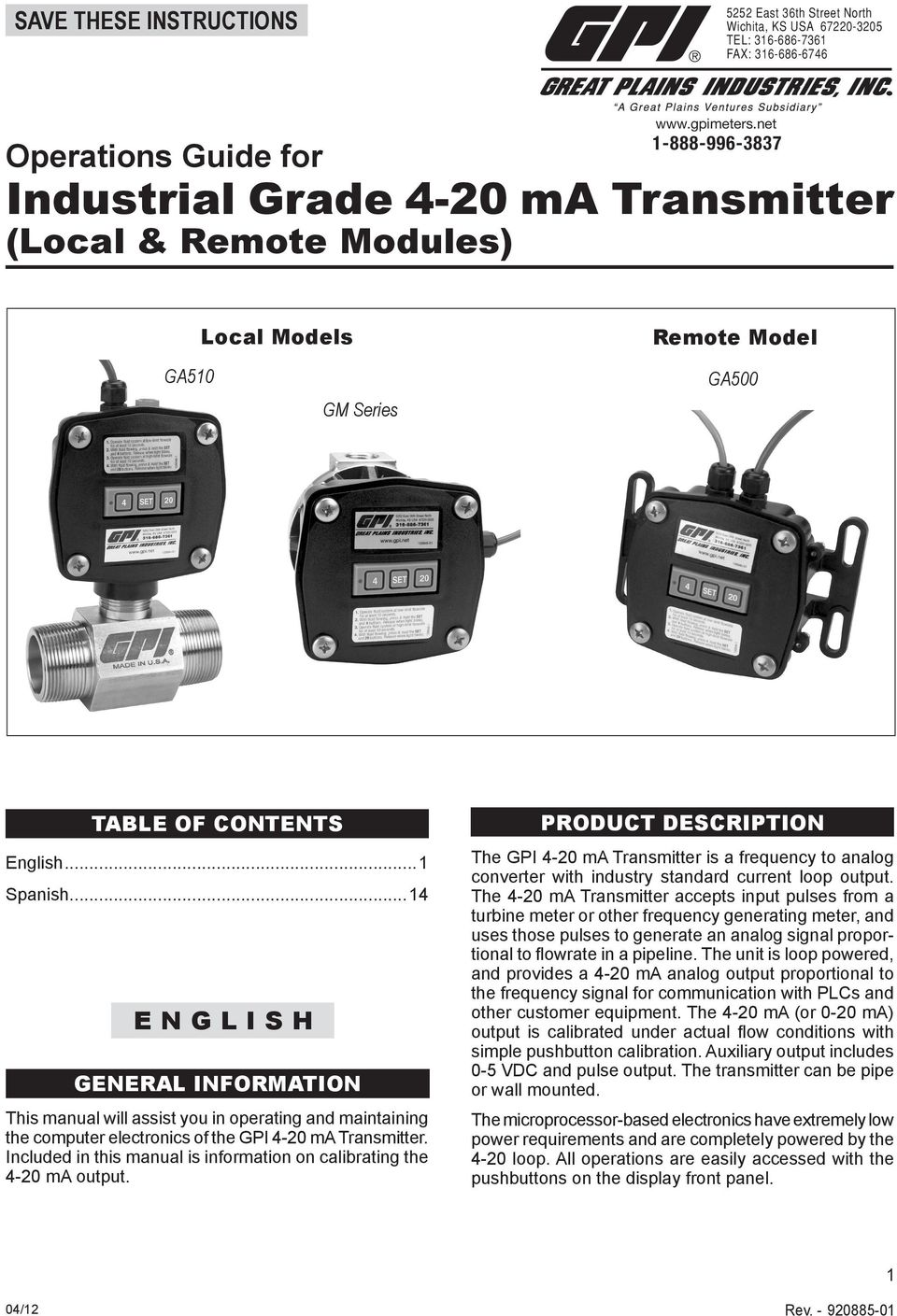 ..14 E N G L I S H GENERAL INFORMATION This manual will assist you in operating and maintaining the computer electronics of the GPI 4-20 ma Transmitter.
