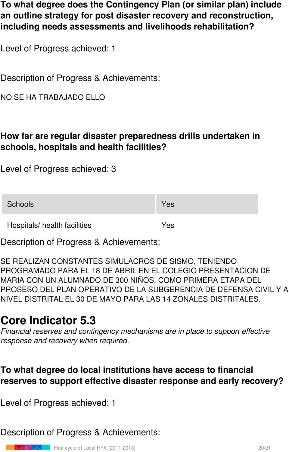 Level of Progress achieved: 3 Schools Hospitals/ health facilities Yes Yes SE REALIZAN CONSTANTES SIMULACROS DE SISMO, TENIENDO PROGRAMADO PARA EL 18 DE ABRIL EN EL COLEGIO PRESENTACION DE MARIA CON