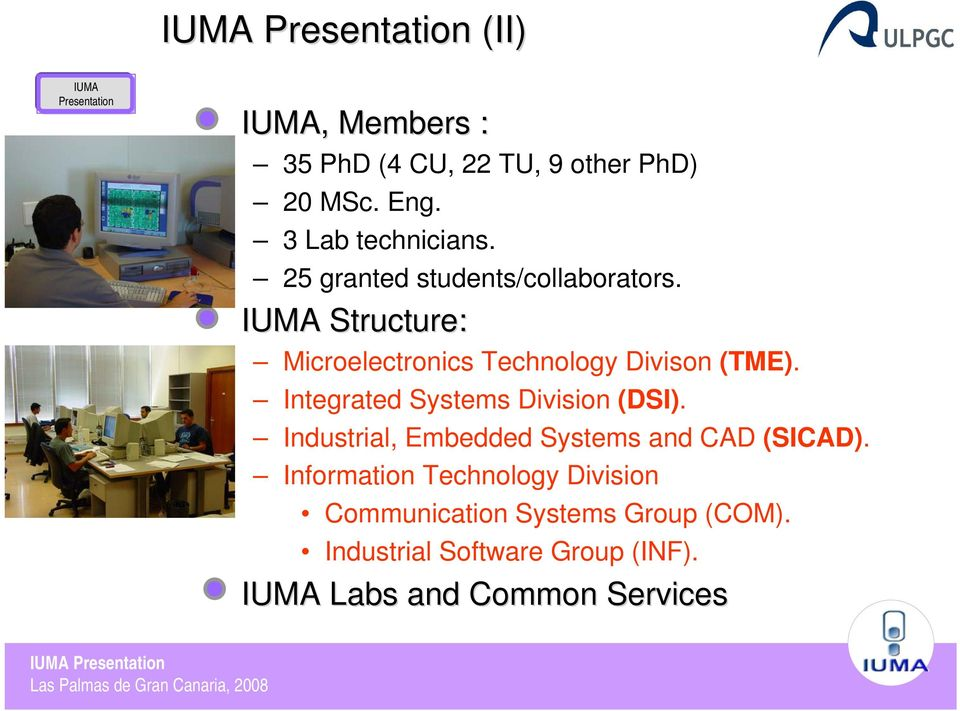 IUMA Structure: Microelectronics Technology Divison (TME). Integrated Systems Division (DSI).