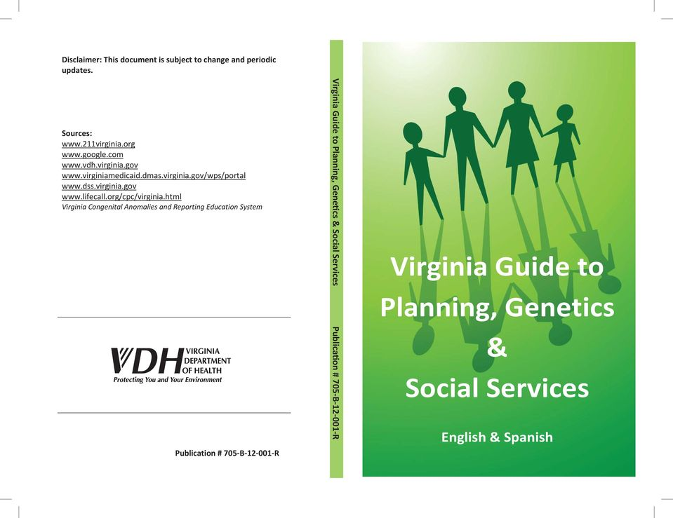 html Virginia Congenital Anomalies and Reporting Education System Publication # 705-B-12-001-R Virginia Guide to