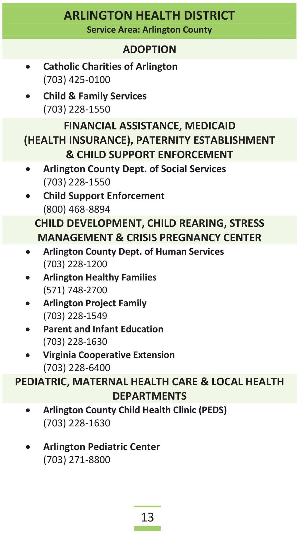 of Social Services (703) 228-1550 Child Support Enforcement (800) 468-8894 CHILD DEVELOPMENT, CHILD REARING, STRESS MANAGEMENT & CRISIS PREGNANCY CENTER Arlington County Dept.