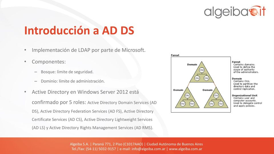 Active Directory en Windows Server 2012 está confirmado por 5 roles: Active Directory Domain Services (AD DS),