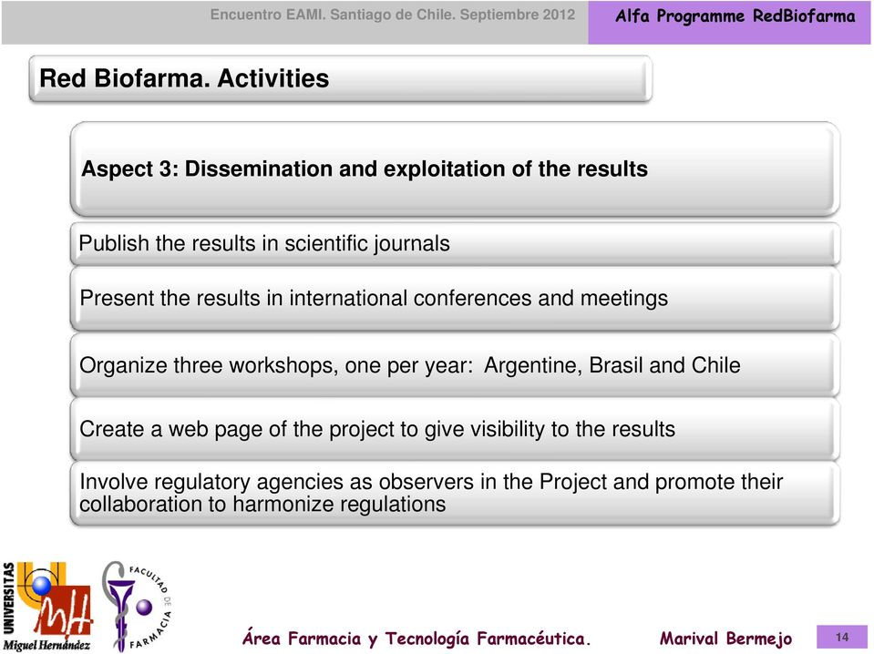 journals Present the results in international conferences and meetings Organize three workshops, one per year: