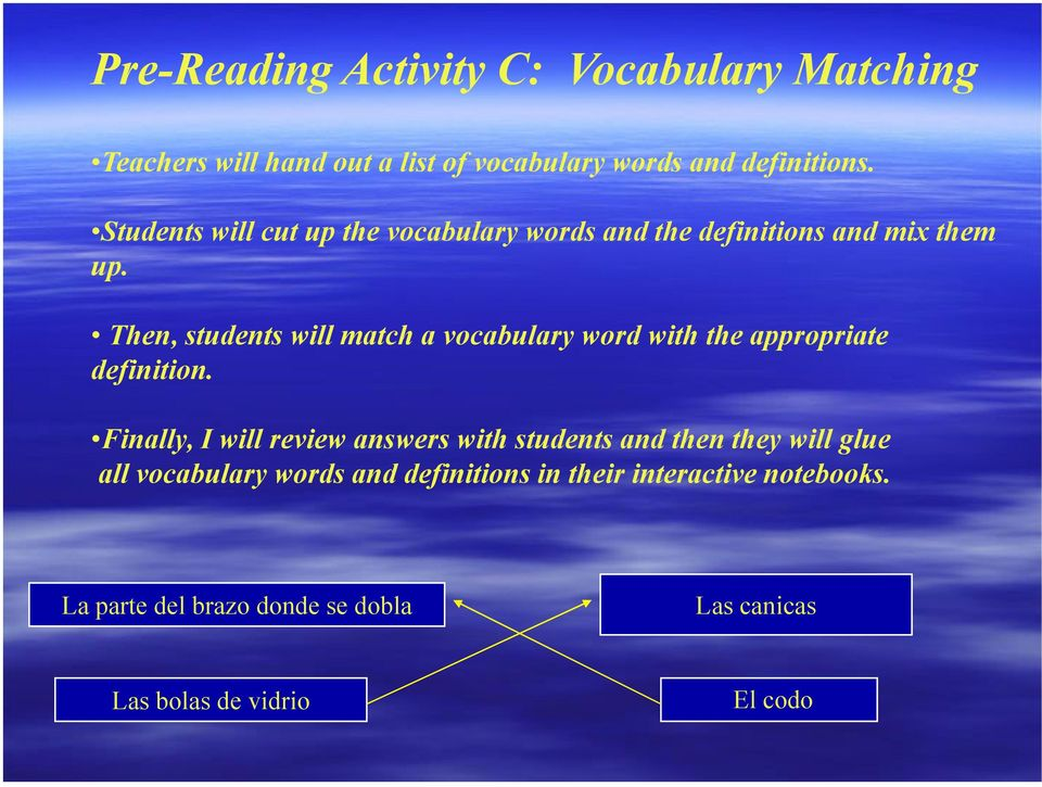 Then, students will match a vocabulary word with the appropriate definition.