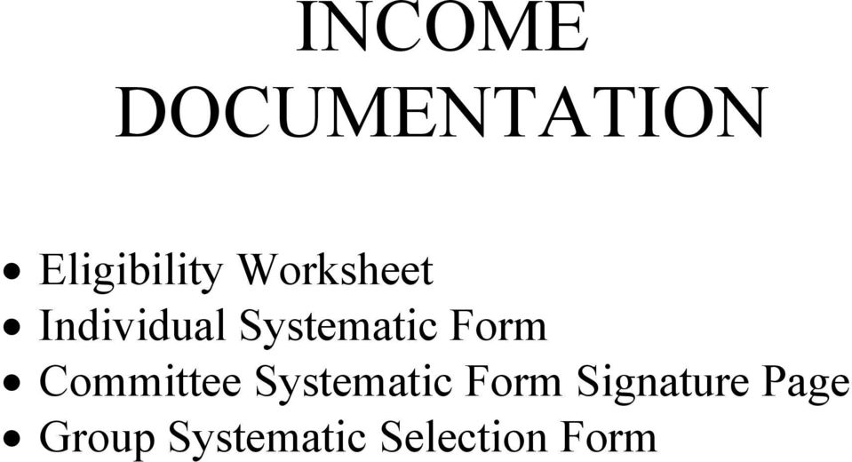 Form Committee Systematic Form