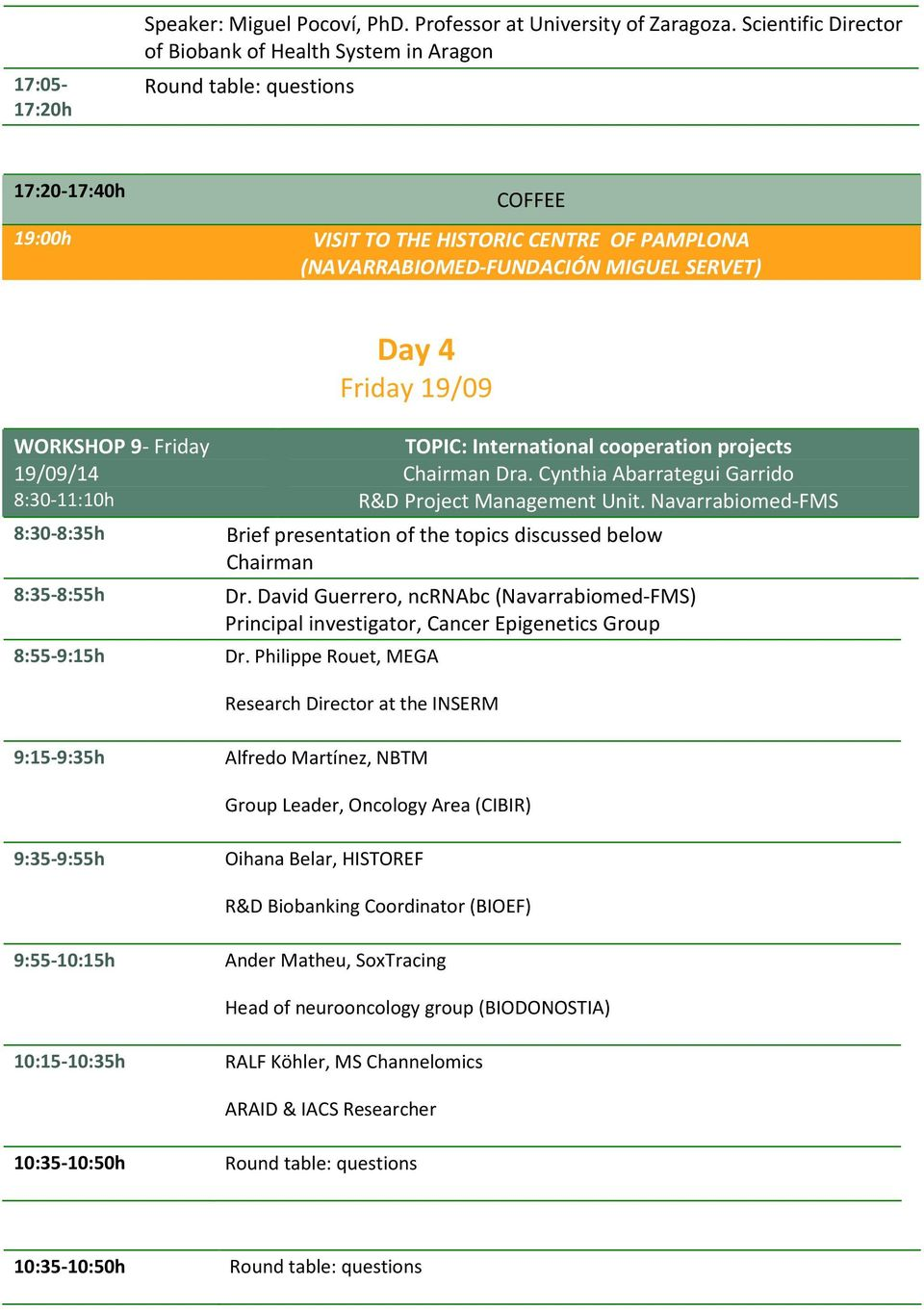 Friday 19/09 WORKSHOP 9- Friday 19/09/14 8:30-11:10h 8:30-8:35h 8:35-8:55h 8:55-9:15h TOPIC: International cooperation projects Dra. Cynthia Abarrategui Garrido R&D Project Management Unit.