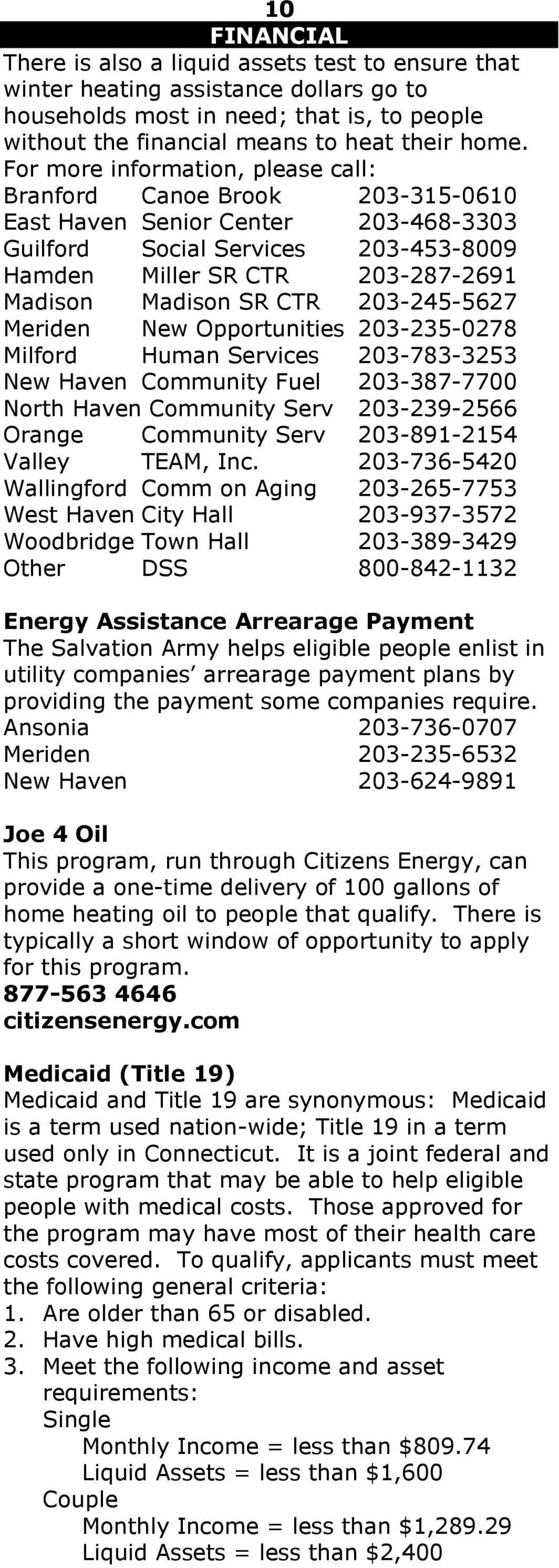 CTR 203-245-5627 Meriden New Opportunities 203-235-0278 Milford Human Services 203-783-3253 New Haven Community Fuel 203-387-7700 North Haven Community Serv 203-239-2566 Orange Community Serv