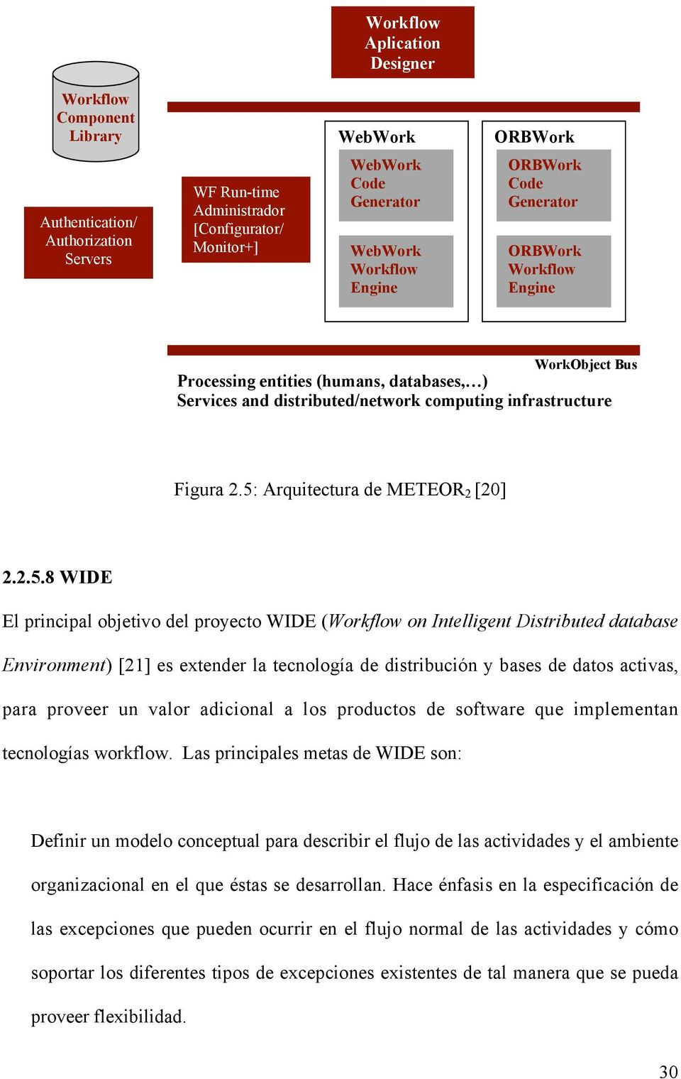 5: Arquitectura de METEOR 2 [20] 2.2.5.8 WIDE El principal objetivo del proyecto WIDE (Workflow on Intelligent Distributed database Environment) [21] es extender la tecnología de distribución y bases