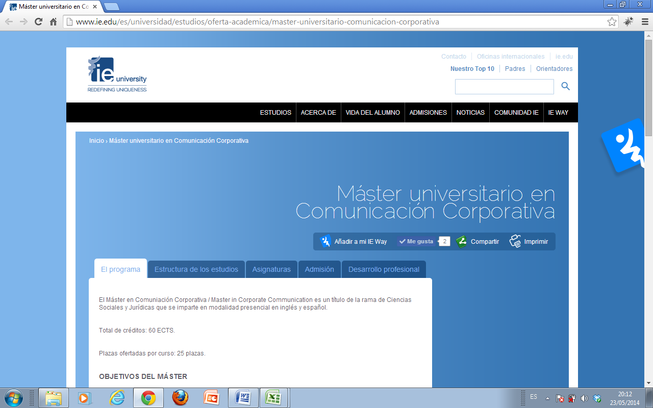 Sitio web 2: página web dentro de la página de la universidad del Máster Universitario en Comunicación Corporativa / Corporate Communication por la IE Universidad (http://www.ie.