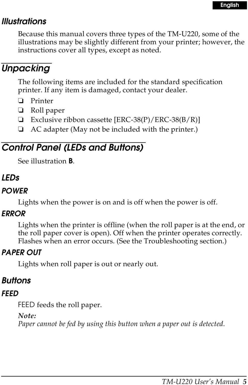Printer Roll paper Exclusive ribbon cassette [ERC-38(P)/ERC-38(B/R)] AC adapter (May not be included with the printer.) Control Panel (LEDs and Buttons) LEDs POWER ERROR See illustration B.