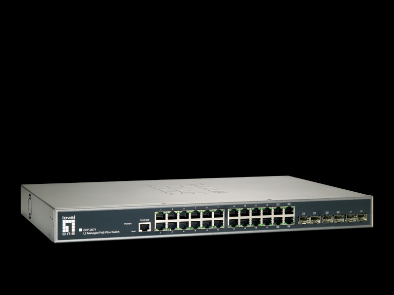 3af/at compliant to provide power and data over a single Ethernet cable to the PoE device, with total power budget of 185W, up to 30W per port.