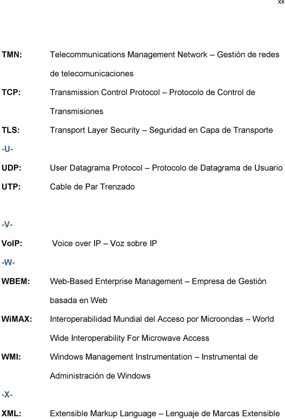 over IP Voz sobre IP -W- WBEM: Web-Based Enterprise Management Empresa de Gestión basada en Web WiMAX: Interoperabilidad Mundial del Acceso por Microondas World Wide