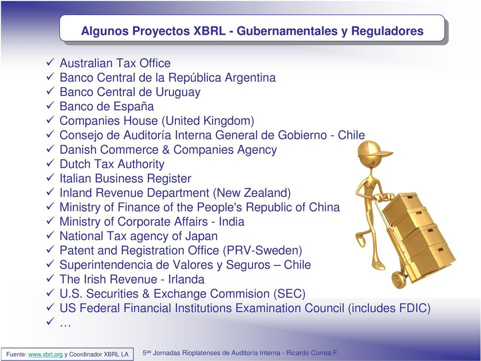 Ministry of Finance of the People's Republic of China Ministry of Corporate Affairs - India National Tax agency of Japan Patent and Registration Office (PRV-Sweden) Superintendencia de Valores