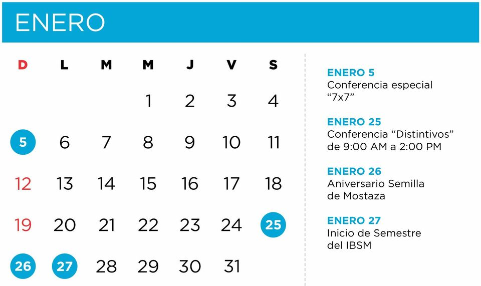 especial 7x7 ENERO 25 Conferencia Distintivos de 9:00 AM a 2:00 PM