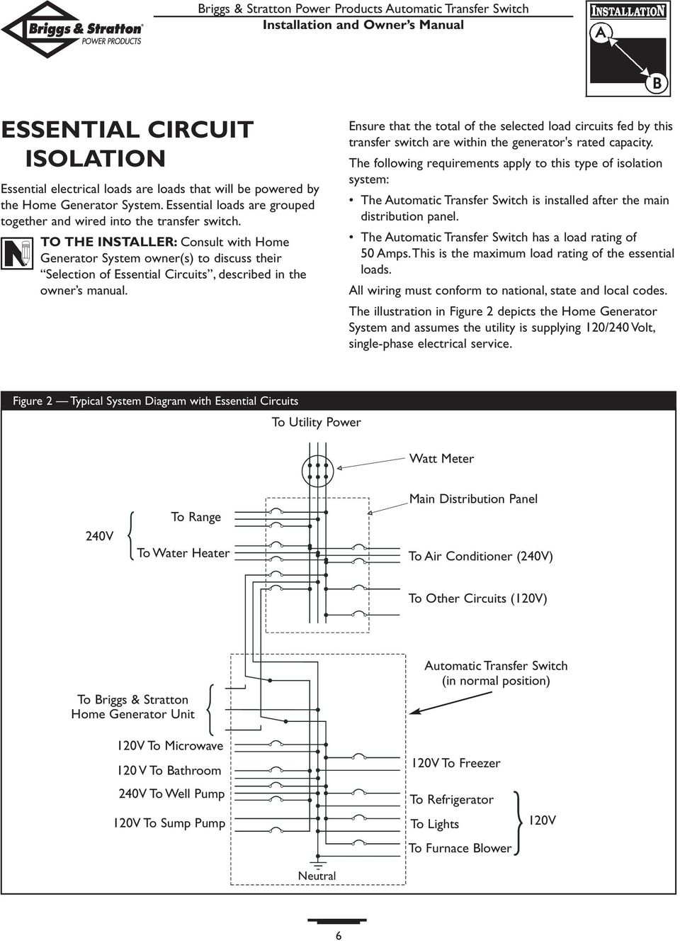 TO THE INSTALLER: Consult with Home Generator System owner(s) to discuss their Selection of Essential Circuits, described in the owner s manual.