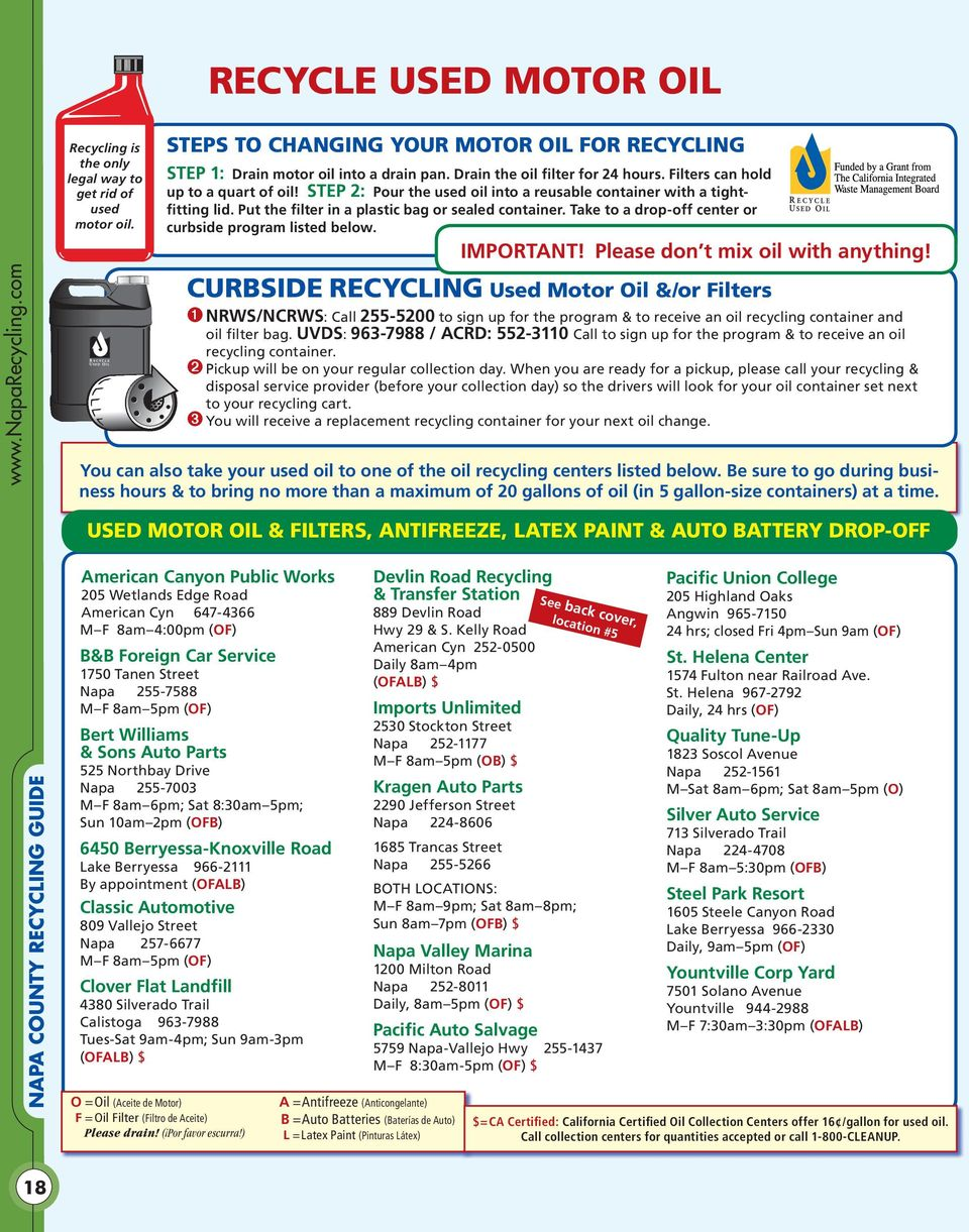 Put the filter in a plastic bag or sealed container. Take to a drop-off center or curbside program listed below. IMPORTANT! Please don t mix oil with anything!