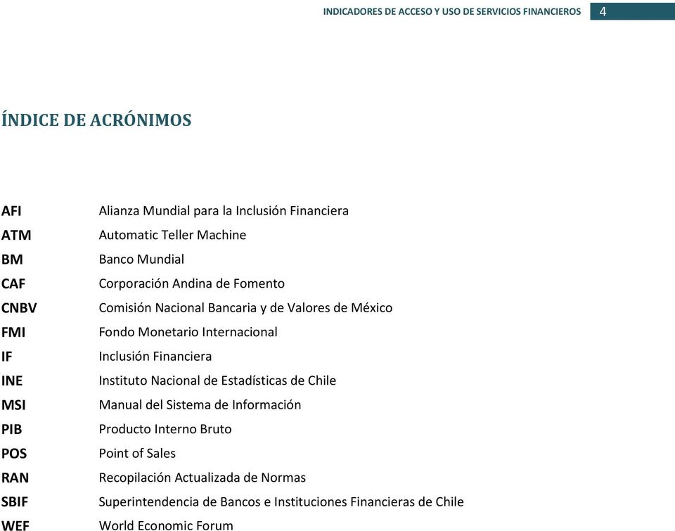 Monetario Internacional Inclusión Financiera Instituto Nacional de Estadísticas de Chile Manual del Sistema de Información Producto