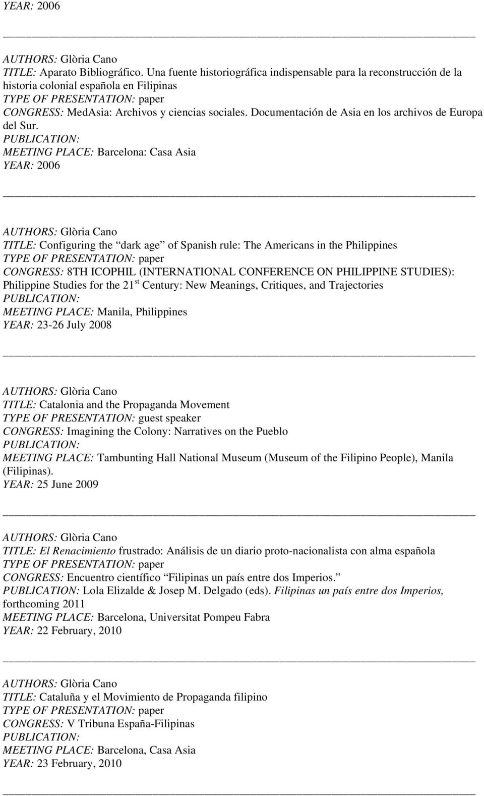 MEETING PLACE: Barcelona: Casa Asia YEAR: 2006 TITLE: Configuring the dark age of Spanish rule: The Americans in the Philippines CONGRESS: 8TH ICOPHIL (INTERNATIONAL CONFERENCE ON PHILIPPINE