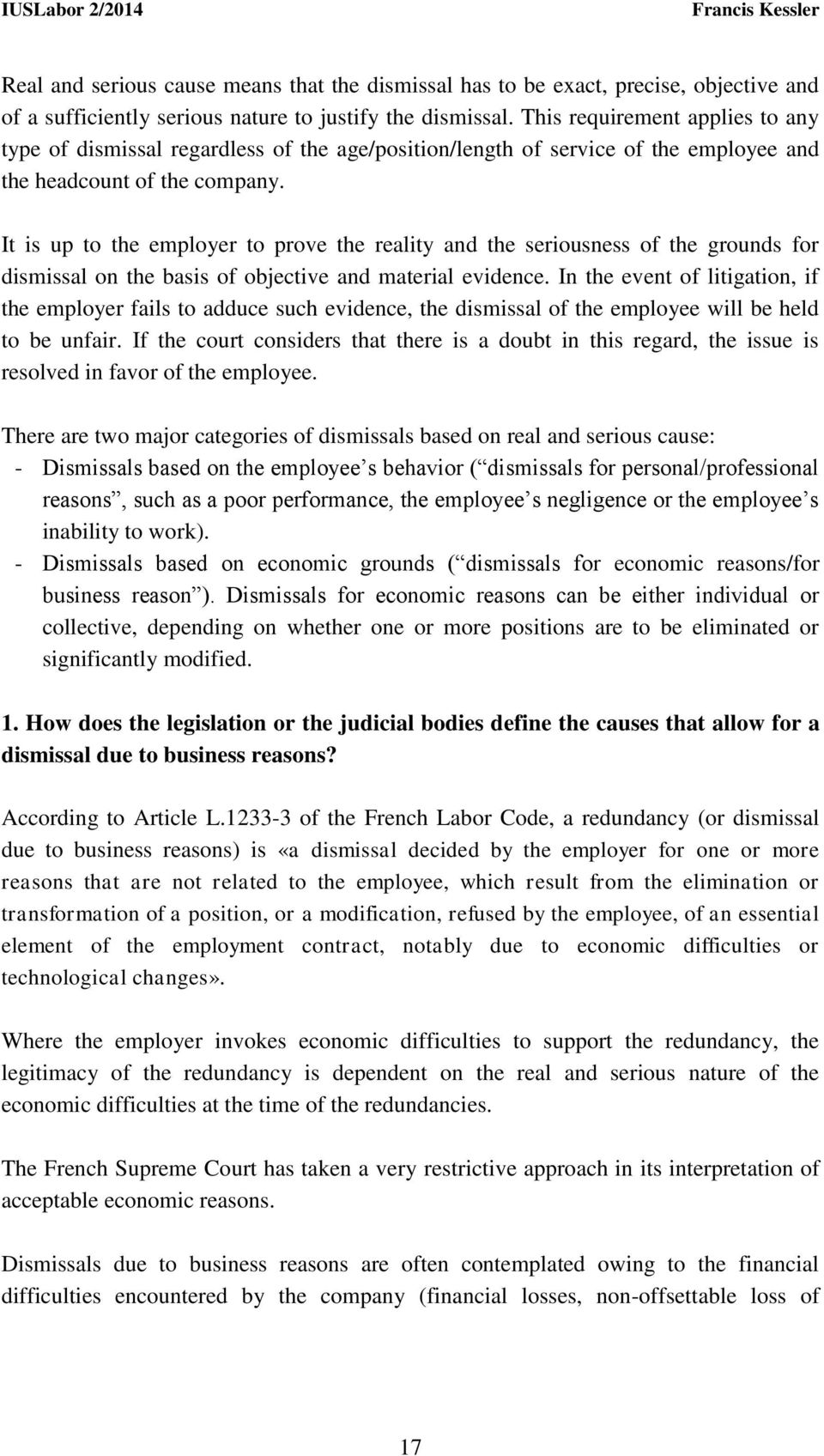 It is up to the employer to prove the reality and the seriousness of the grounds for dismissal on the basis of objective and material evidence.