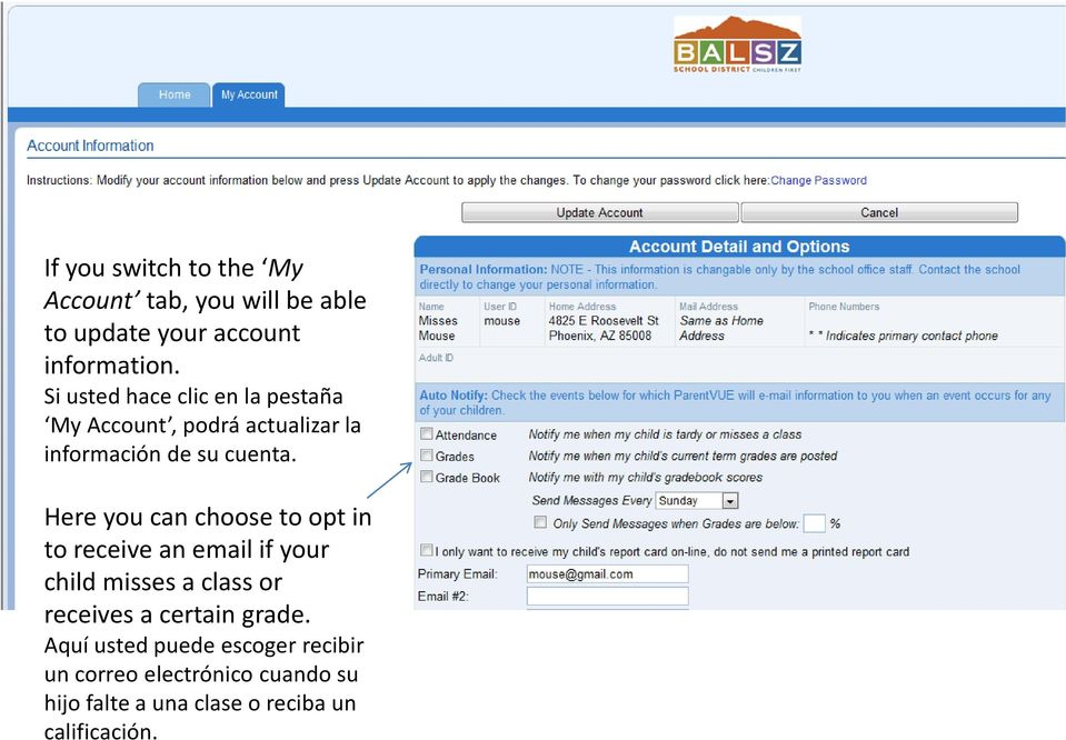 Here you can choose to opt in to receive an email if your child misses a class or receives a certain