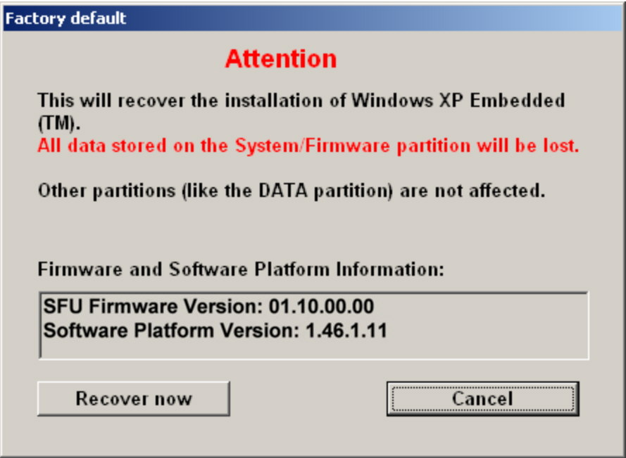 "Installed Software Windows XP Recovery and Backup Partition 2. Click ""Recover now"" and follow the instructions. The script which is performed during recovery is displayed."