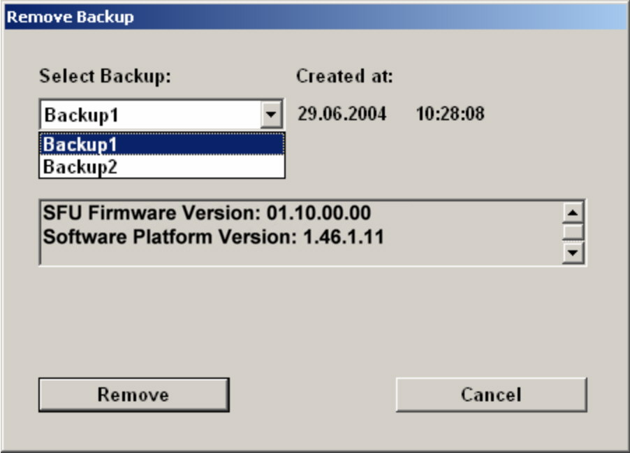 "Installed Software Windows XP Recovery and Backup Partition 2. Under ""Select Backup"", select the backup to be deleted. 3. Click ""Remove""."