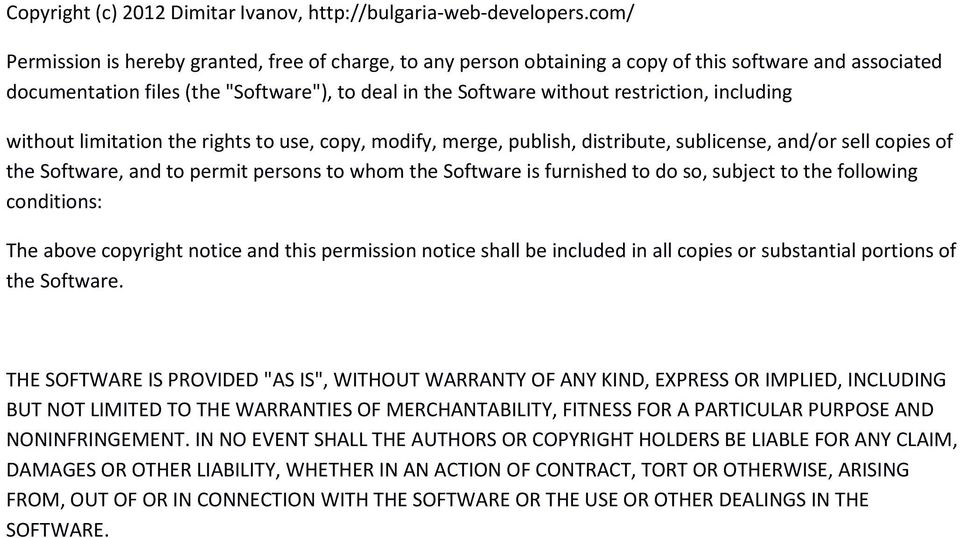 including without limitation the rights to use, copy, modify, merge, publish, distribute, sublicense, and/or sell copies of the Software, and to permit persons to whom the Software is furnished to do