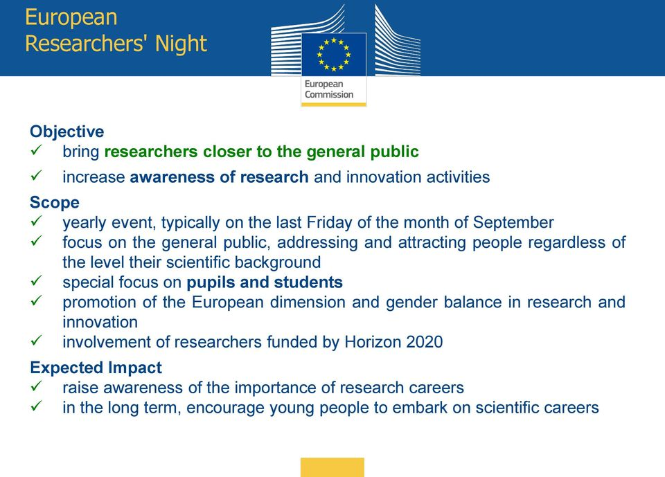 scientific background special focus on pupils and students promotion of the European dimension and gender balance in research and innovation involvement of