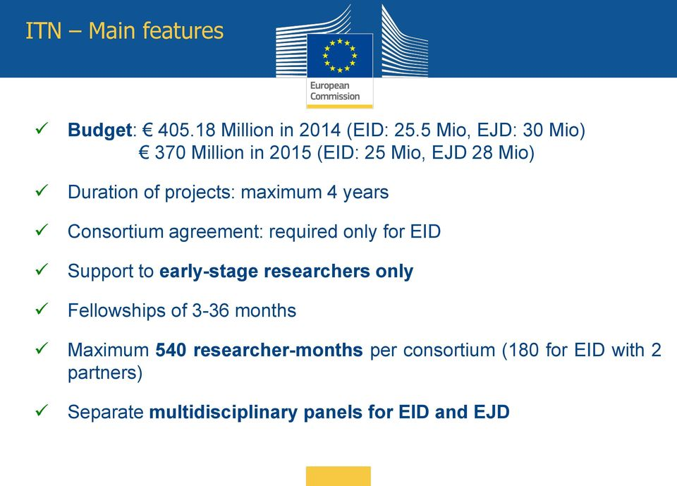 years Consortium agreement: required only for EID Support to early-stage researchers only