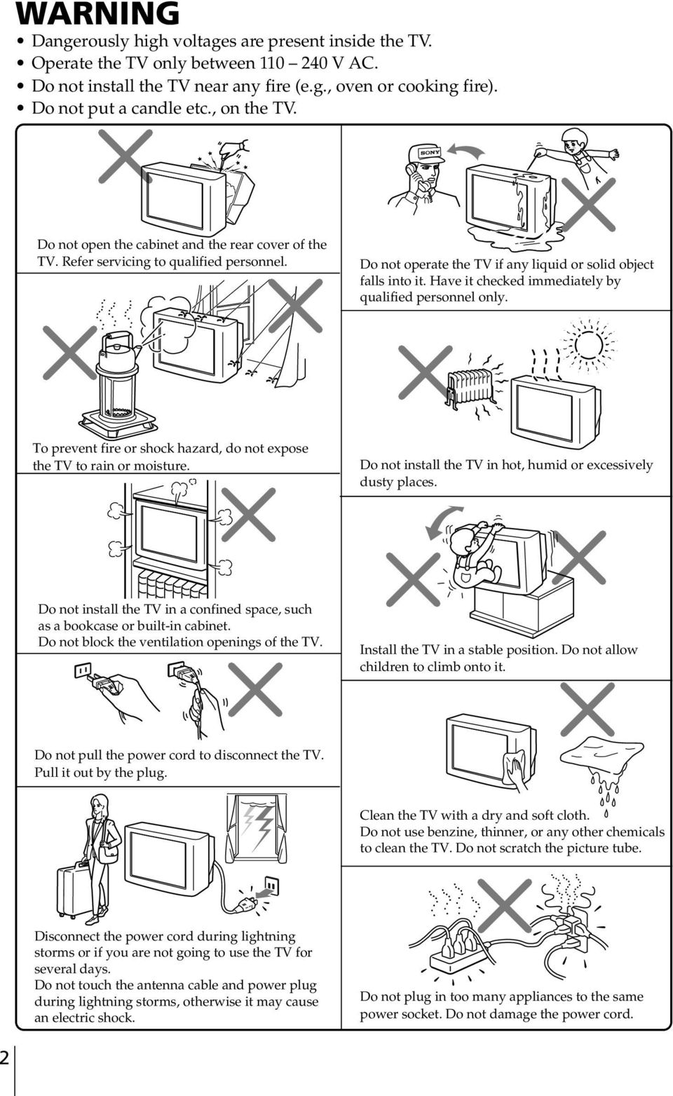 Have it checked immediately y qualified personnel only. To prevent fire or shock hazard, do not expose the TV to rain or moisture. Do not install the TV in hot, humid or excessively dusty places.