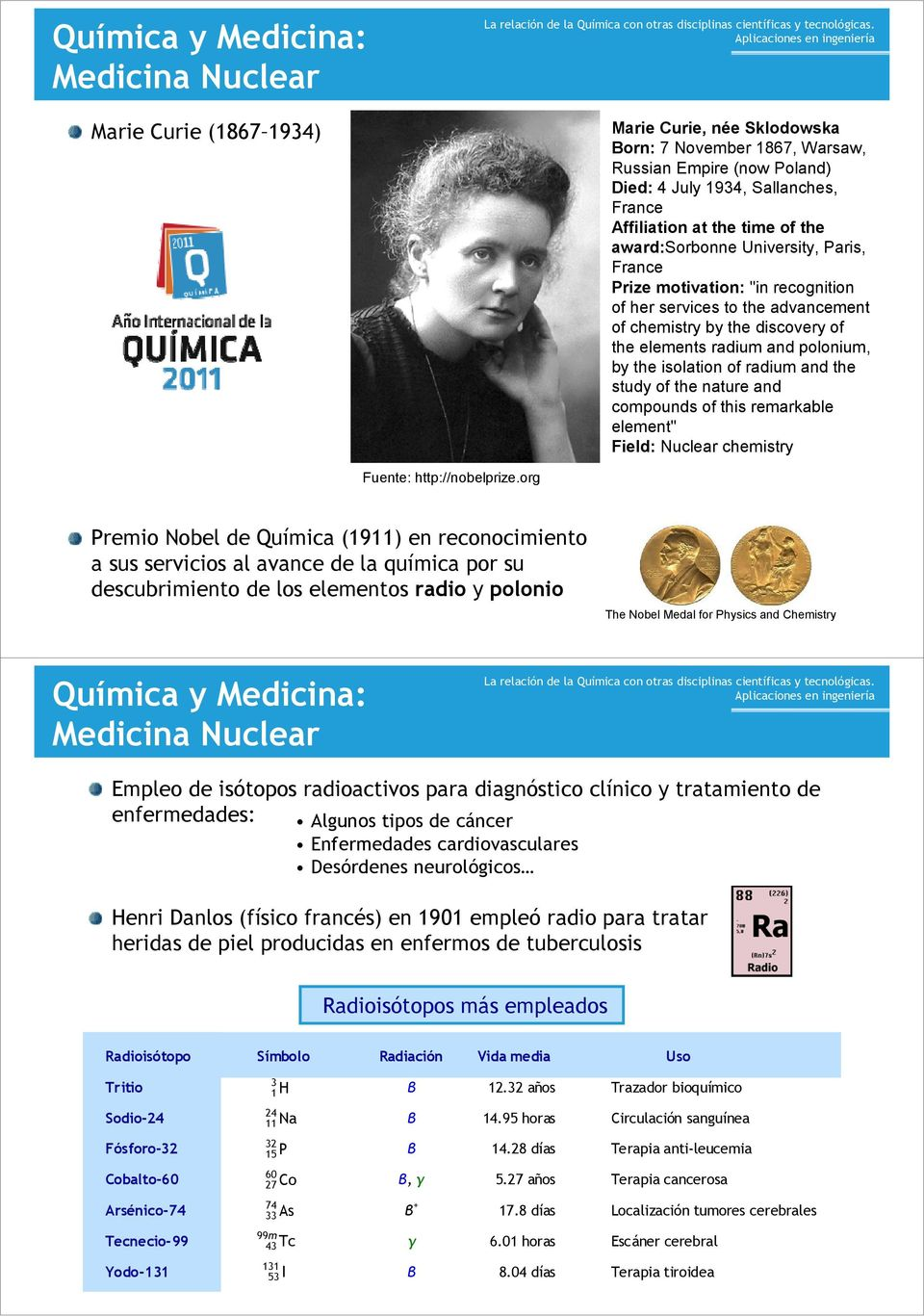 "the isolation of radium and the study of the nature and compounds of this remarkable element"" Field: Nuclear chemistry Fuente: http://nobelprize."