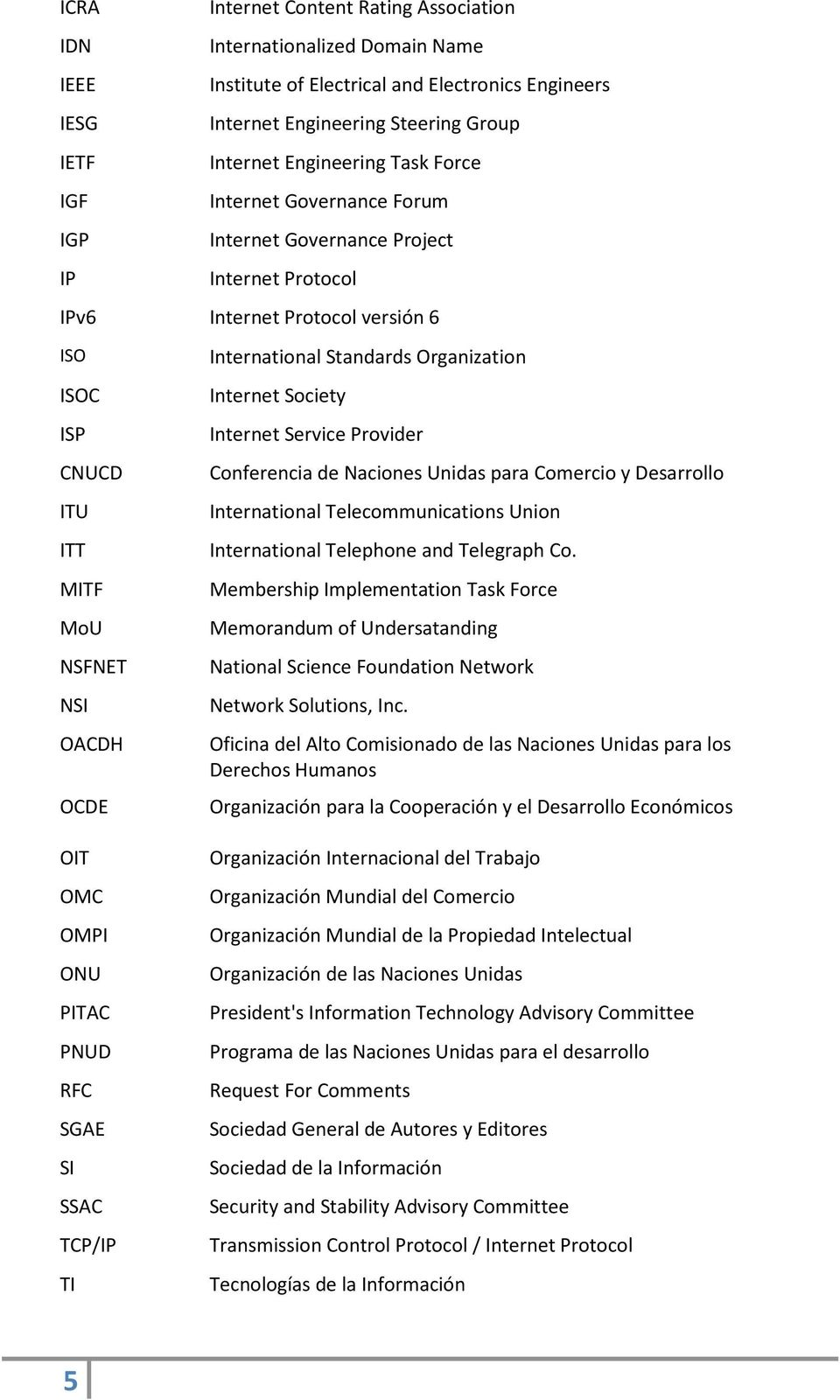 Standards Organization Internet Society Internet Service Provider Conferencia de Naciones Unidas para Comercio y Desarrollo International Telecommunications Union International Telephone and