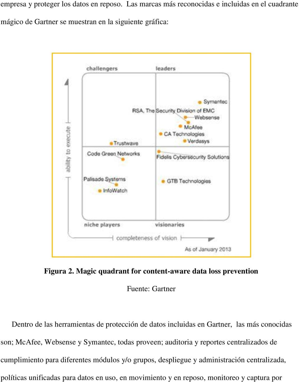 Magic quadrant for content-aware data loss prevention Fuente: Gartner Dentro de las herramientas de protección de datos incluidas en Gartner, las