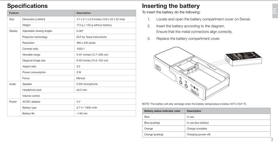 battery To insert the battery do the following: 1. 2. 3. Locate and open the battery compartment cover on Swivel. Insert the battery according to the diagram.