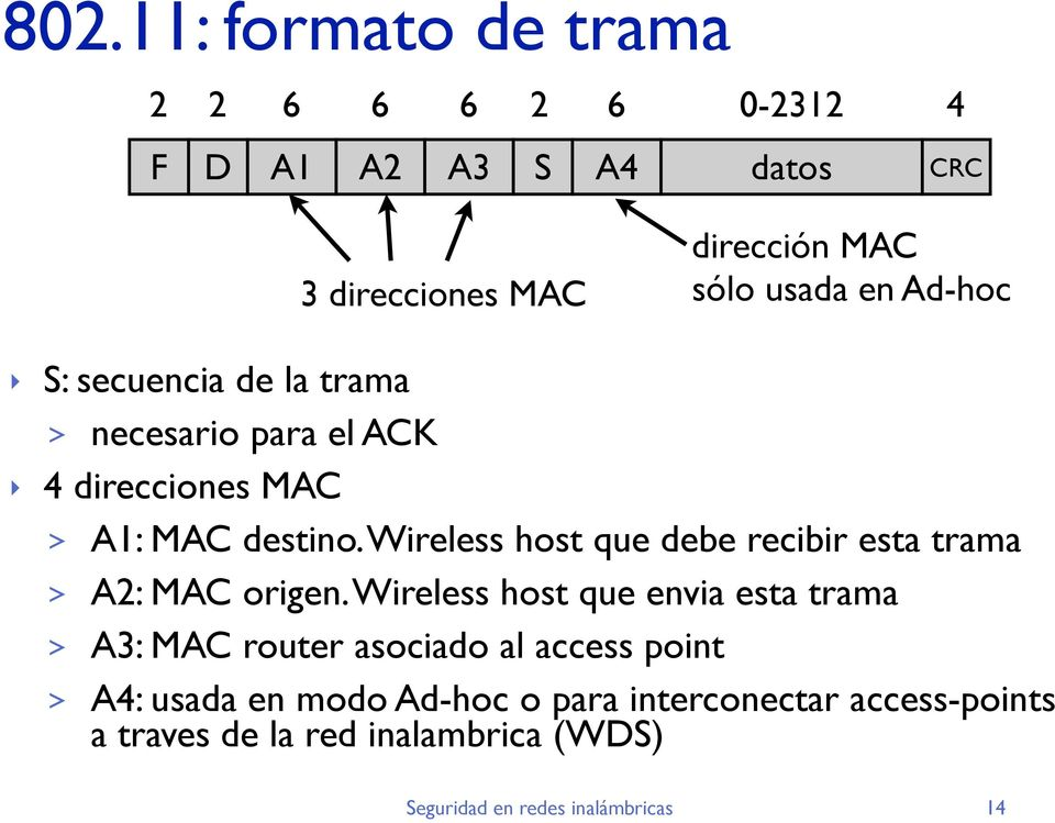 Wireless host que debe recibir esta trama > A2: MAC origen.