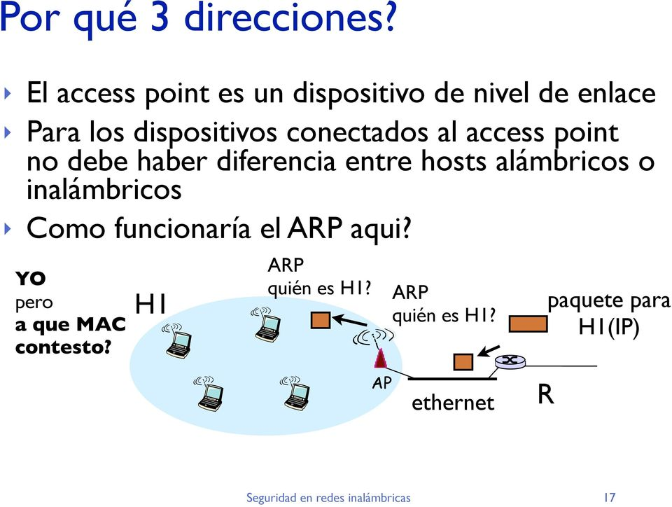 conectados al access point no debe haber diferencia entre hosts alámbricos o