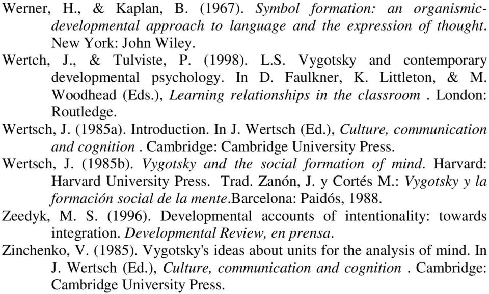 ), Culture, communication and cognition. Cambridge: Cambridge University Press. Wertsch, J. (1985b). Vygotsky and the social formation of mind. Harvard: Harvard University Press. Trad. Zanón, J.