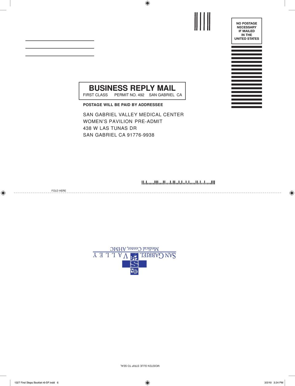 492 SAN GABRIEL CA POSTAGE WILL BE PAID BY ADDRESSEE SAN GABRIEL VALLEY MEDICAL