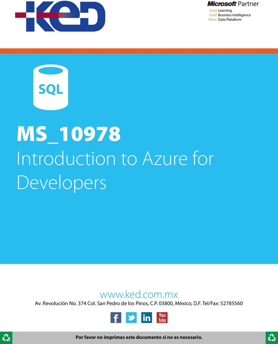 Azure for Developers www.ked.com.