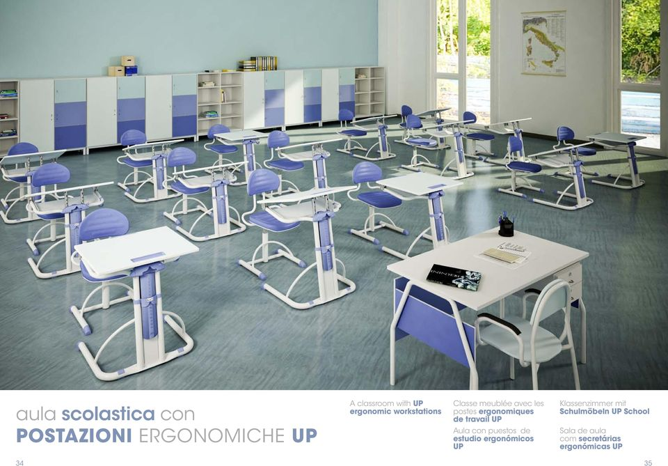 travail UP Aula con puestos de estudio ergonómicos UP Klassenzimmer
