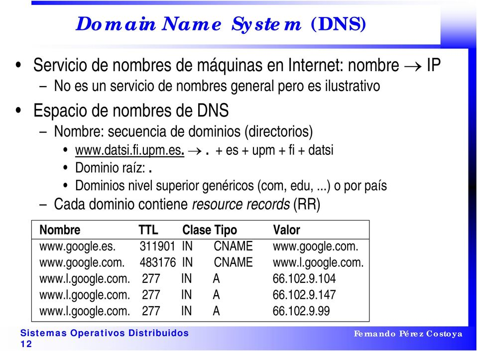 Dominios nivel superior genéricos (com, edu,...) o por país Cada dominio contiene resource records (RR) Nombre TTL Clase Tipo Valor www.google.es. 311901 IN CNAME www.