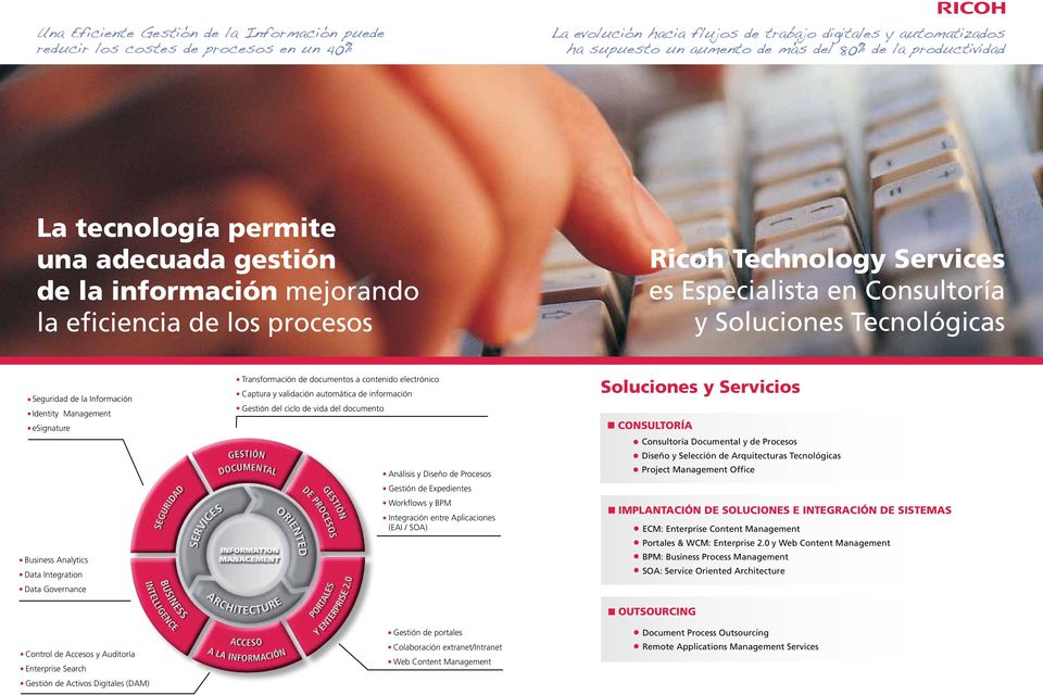 Seguridad de la Información Identity Management esignature Business Analytics Data Integration Data Governance Control de Accesos y Auditoría Enterprise Search Gestión de Activos Digitales (DAM)